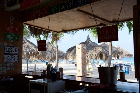 View from Scott's Brats on Palm Beach, Aruba.