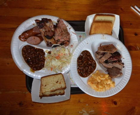 Mixed meat and brisket platters at Jack's BBQ, Nashville, Tennessee, USA.