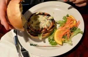 Salmon burger at Barbacoa, Ardmore, PA.