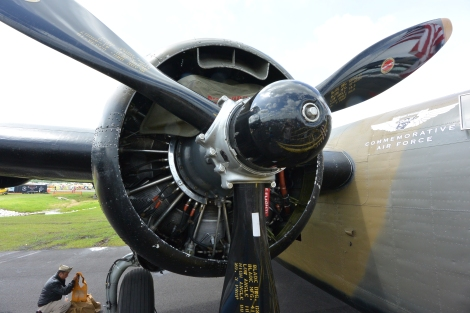 Radial engine and propeller on B-24 Liberator, Diamond Lil.