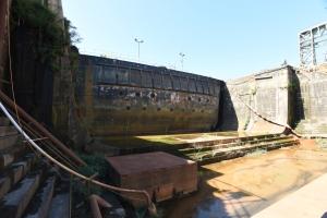 The coffer dam of a graving dock at the former Philadelphia Naval Shipyard.