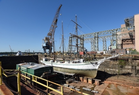 Sailing vessel Gazela on the blocks at the former Philadelphia Navy Yard.