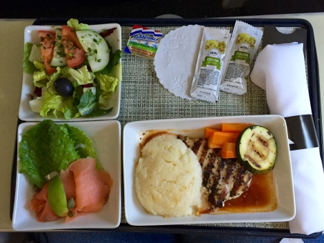 Lunch served aboard American Airlines.