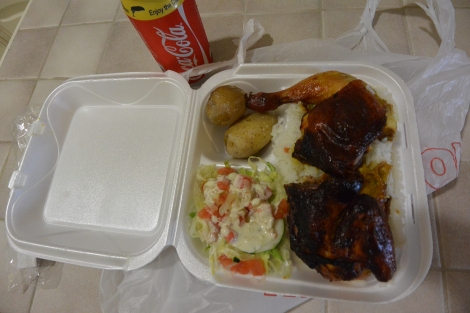 Roast chicken platter take away from Shoco Snack, Aruba.