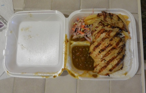 Grilled chicken platter take away from Shoco Snack, Aruba.