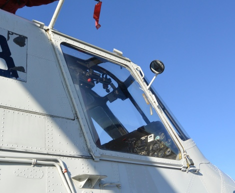 Pilot's window on heavy lift helicopter.